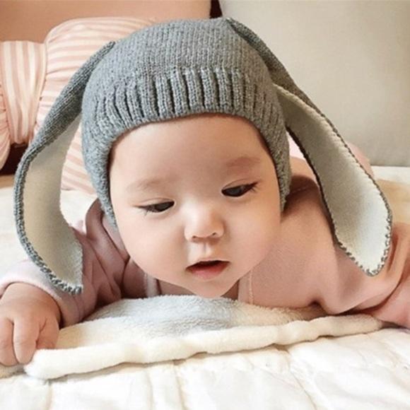 559499d6987 NWT Baby Bunny Ears Knit Hat sz 0-6 mo